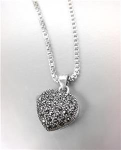 GORGEOUS Sterling Silver Marcasite Hematite Crystals Heart Pendant Necklace