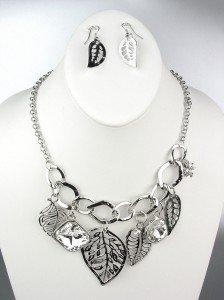 Silver Metal Leaves Leaf CZ Crystals Drape Bohemian Necklace Earrings Set