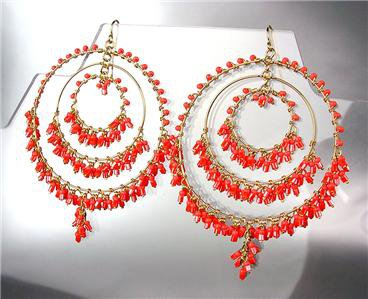 EXQUISITE Coral Red Crystals Beads Gold Chandelier Dangle Peruvian Earrings