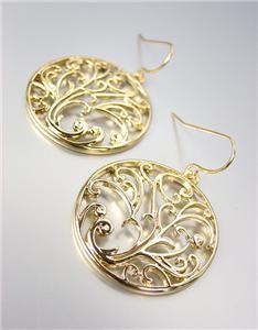 CLASSIC Brighton Bay Gold Filigree Texture Dangle Earrings