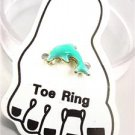 ADORABLE Aqua Blue Enamel DOLPHIN Invisible Illusion PETITE Toe Ring