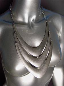 CHUNKY Antique Burnished Silver Metal Layered Drape STATEMENT Necklace Set