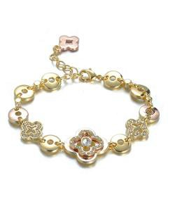NEW Designer Style Gold Rose Copper Clover Clovers CZ Crystals Links Bracelet