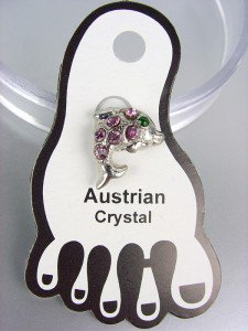 ADORABLE Lavender Austrian Crystal DOLPHIN Invisible PETITE Toe Ring