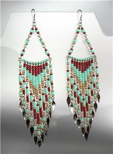 Turquoise Multi Beads Bohemian Boho Gypsy Peruvian Chandelier Dangle Earrings B7