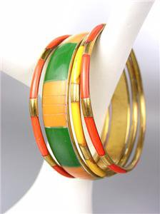 CHIC 4 PC Tangerine Orange Bamboo Green Saffron Yellow Resin Bangle Bracelets