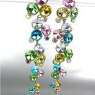 STUNNING Multi Iridescent AB Czech Crystals WATERFALL Long Dangle Earrings