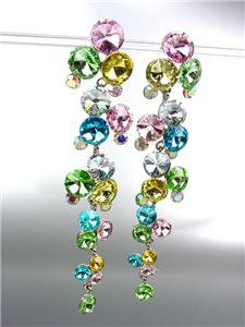 STUNNING Multi Iridescent AB Czech Crystals WATERFALL Long Dangle Earrings