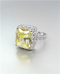 LUMINOUS 18kt White Gold Plated 12.56CT Canary Yellow CZ Crystals Cocktail Ring
