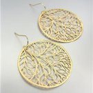 CHIC Urban Anthropologie Lightweight Thin Mat Gold Etched Tree Leaves Earrings