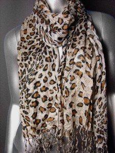 EXOTIC Brown Leopard Prints Gauze Viscose Scarf with Fringe Tassels