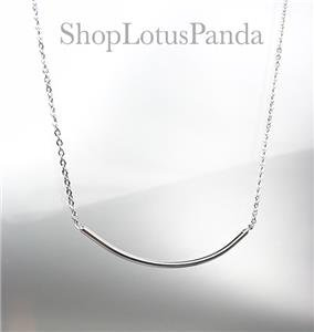 CHIC 18kt White Gold Plated CURVED BAR Pendant Petite Dainty Necklace