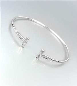 LUXURIOUS Thin Dainty 18kt White Gold Plated CZ Crystals Cuff Bracelet