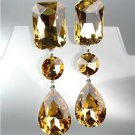 GLITZY Brown Topaz Czech Crystals LONG Bridal Queen Pageant Prom CLIP Earring