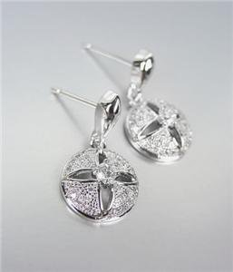 CLASSIC 18kt White Gold Plated CZ Crystals Petite Dangle Earrings