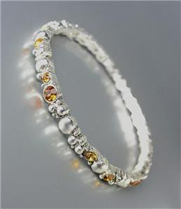 ELEGANT Brighton Bay Silver Dots Metal Brown Topaz CZ Crystals Stretch Bracelet