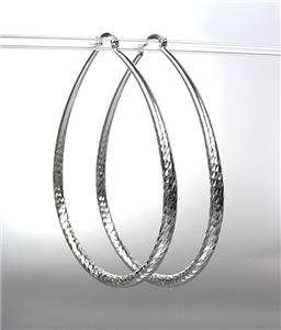 "SPARKLE CHIC SILVER Metal Large 3"" Long THIN Oval Hoop Pincatch Earrings"