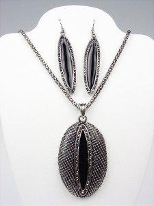 VICTORIAN Antique Black Enamel Marcasite Crystals Pendant Necklace Earrings Set