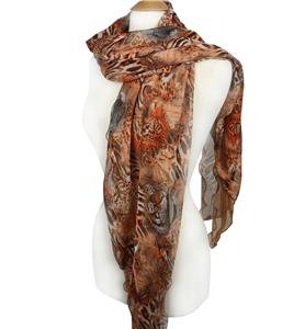 EXOTIC Silky Rustic Orange Brown Leopard Tiger Animal Print Ruffles 2-ply Scarf