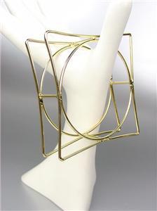 CHIC & UNIQUE Thin Gold Wire Geometric Square Round STATEMENT Bangle Bracelet