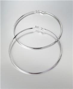 """CHIC Silver Metal Flat Front Round Large 3 3/8"""" Diameter Hoop Post Earrings"""