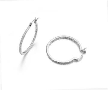 SHIMMER Thin 18kt White Gold Plated Inside Outside CZ Crystals Hoop Earrings