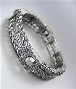 UNIQUE Brighton Bay Antique Metal Hematite CZ Crystals Stretch Bracelet