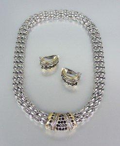 Designer Style Black CZ Pav'e Crystals Silver Mesh Chain Necklace Earrings Set