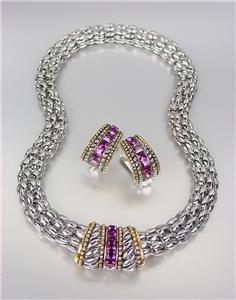 Designer Style Silver Cable Purple Amethyst CZ Crystals Barrel Mesh Necklace Set