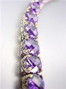 Designer Style Silver Gold Balinese Light Amethyst Purple CZ Crystals Bracelet