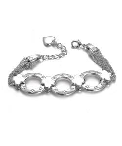 NEW Designer Inspired Silver Clover Clovers Ring Links Chain Bracelet