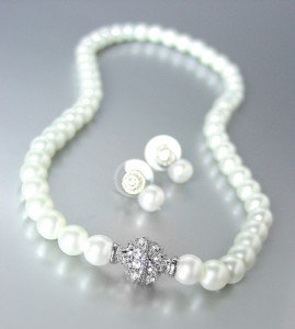 Designer Inspired White Pearls Magnetic Eternity Pave CZ Crystals Necklace Set