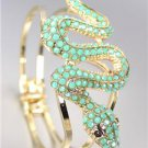 EXOTIC CHIC Designer Turquoise Crystals Snake GOLD Hinged Bangle Bracelet