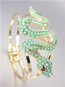 EXOTIC CHIC Designer Turquoise Crystals Snake GOLD Hinged Bangle Bracelet