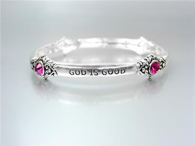 INSPIRATIONAL Silver GOD IS GOOD ALL THE TIME Pink Crystals Stretch Bracelet