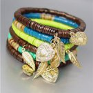 Urban Anthropologie Turquoise Shell Wood Beads Gold Leaf Heart Charms Bracelet