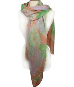 EXPRESSIVE Silky Lightweight Green Lavender White Floral Orange Fashion Scarf