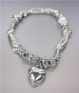 LIVE LAUGH LOVE Antique Silver Beads Petite Heart Charm Stretch Bracelet