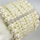 CHIC Urban Anthropologie Creme Pearls Gemmed Crystals Bars Stretch Bracelet