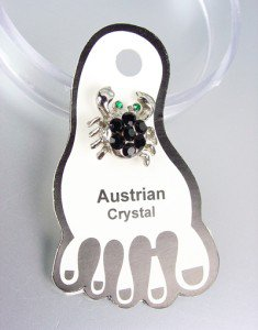 Sparkle Black Austrian Crystals CRAB Invisible PETITE Toe Ring