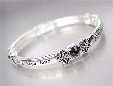 INSPIRATIONAL Silver FAITH HOPE LOVE Black Crystals Stretch Stackable Bracelet