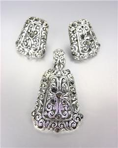 CLASSIC Brighton Bay Silver Filigree Marcasite CZ Pendant Enhancer Earrings Set
