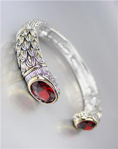 STUNNING Designer Inspired Red Garnet CZ Crystals Balinese Cuff Bracelet
