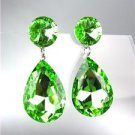 GLITZY Light Peridot Green Czech Crystals Bridal Queen Pageant Prom Earrings