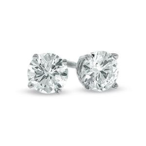 CLASSIC 14kt White Gold Plated .75 CT 6mm CZ Crystal Solitaire Stud Earrings