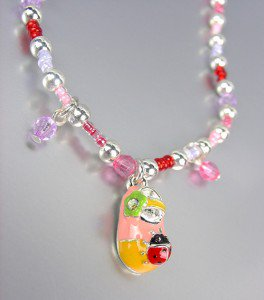 ADORABLE Pink Beads Ladybug Lady Bug Flower Shoe Charm Stretch Anklet