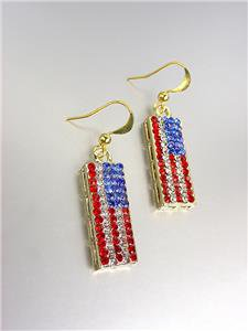 GOLD Red White Blue Swarovski Crystals Patriotic USA American Flag Earrings