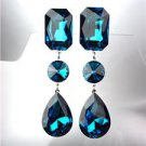 GLITZY Blue Zircon Czech Crystals LONG Bridal Queen Pageant Prom CLIP Earrings