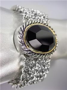 CHUNKY Brighton Bay Black Onyx Stone Silver Cable Medallion Chain Bracelet