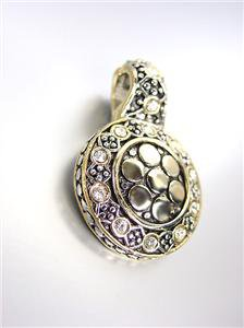 NEW Designer Style BALINESE Silver Gold Dots Clear Topaz CZ Crystals Pendant